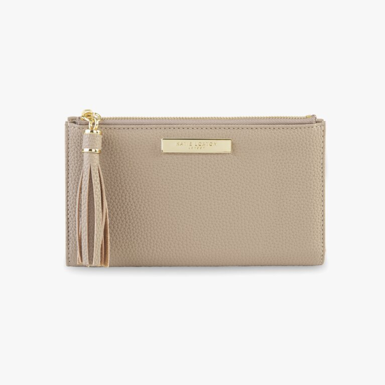 Tassel Fold Out Purse In Taupe