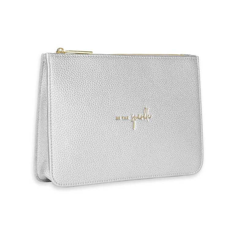 Stylish Structured Pouch | Be The Sparkle | Silver