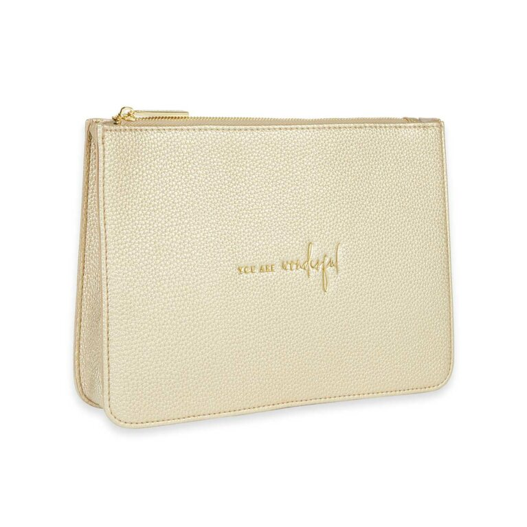 Stylish Structured Pouch | You Are Wonderful | Gold
