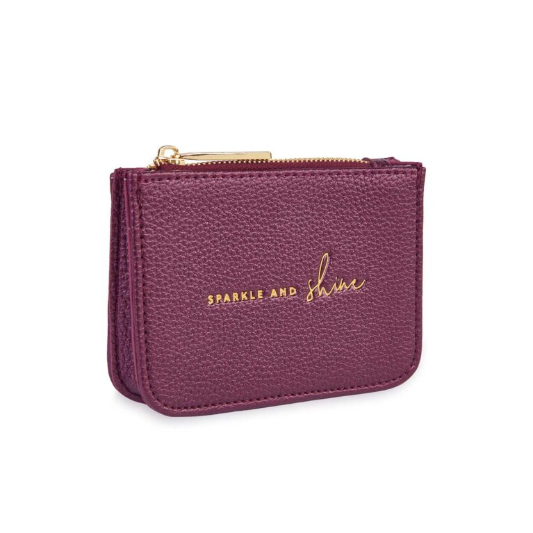 Stylish Structured Coin Wallet | Sparkle and Shine | Metallic Berry