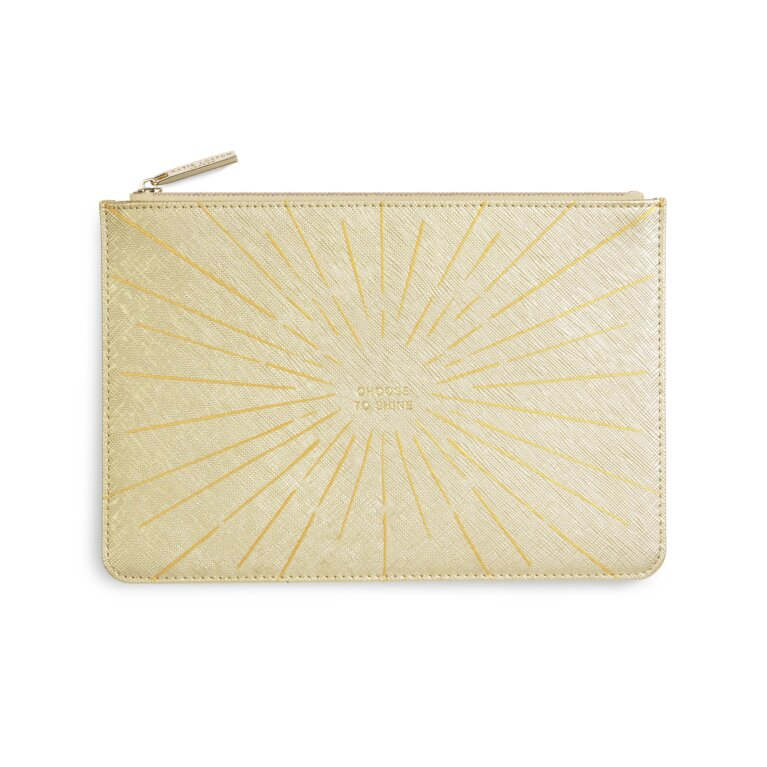 Gold Print Perfect Pouch Choose To Shine In Metallic Gold