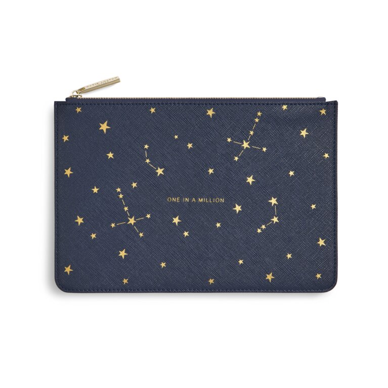 Gold Print Perfect Pouch One In A Million In Navy Blue