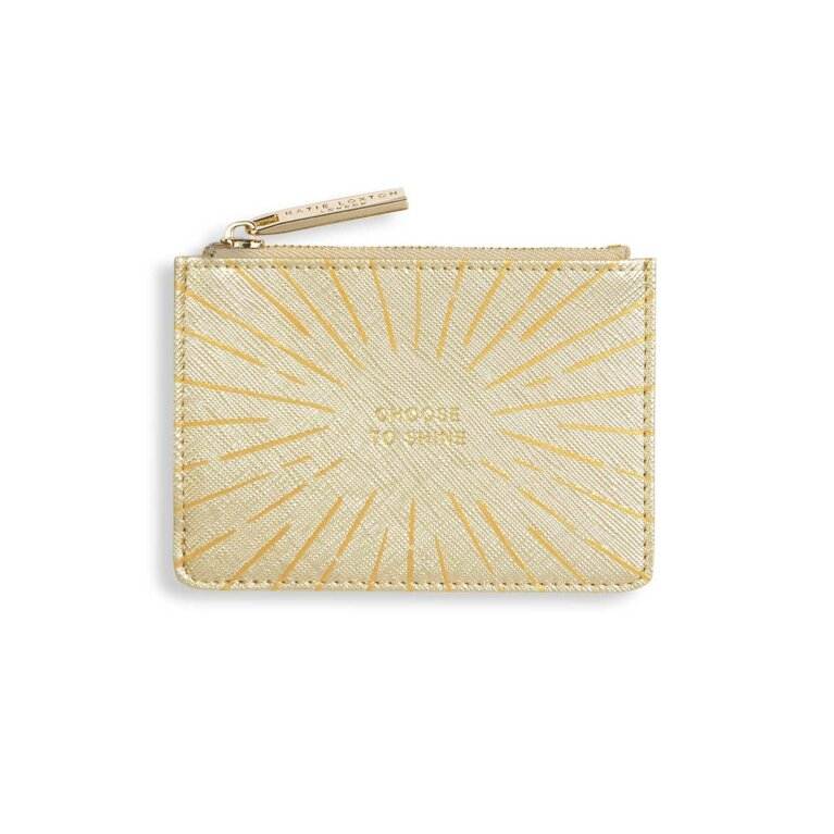 Gold Print Card Holder | Choose To Shine | Metallic Gold
