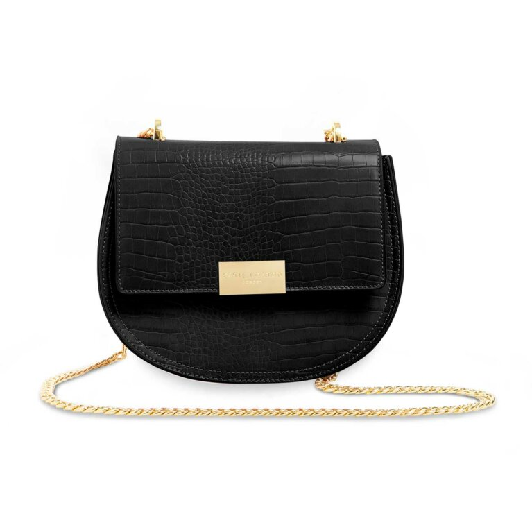 Celine Faux Croc Saddle Bag | Black