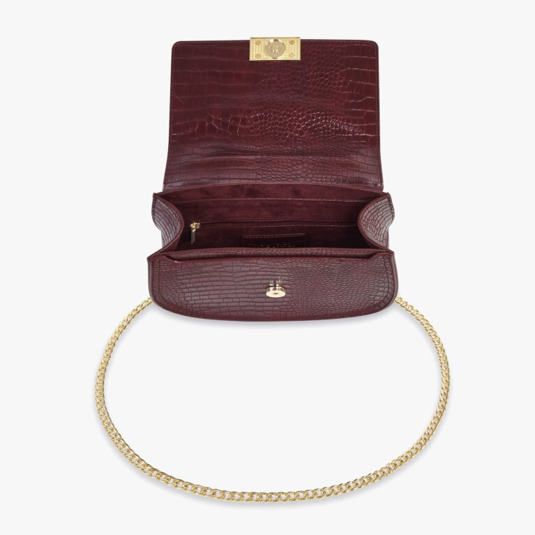 Celine Faux Croc Saddle Bag | Burgundy