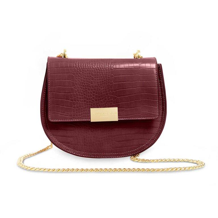Celine Faux Croc Saddle Bag | Burgundy