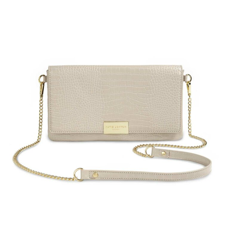 Celine Faux Croc Fold Over Crossbody | Stone