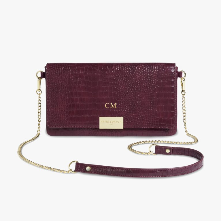 Celine Faux Croc Fold Over Crossbody Bag | Burgundy