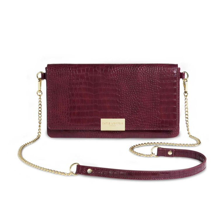 Celine Faux Croc Fold Over Crossbody Bag | Burgundy