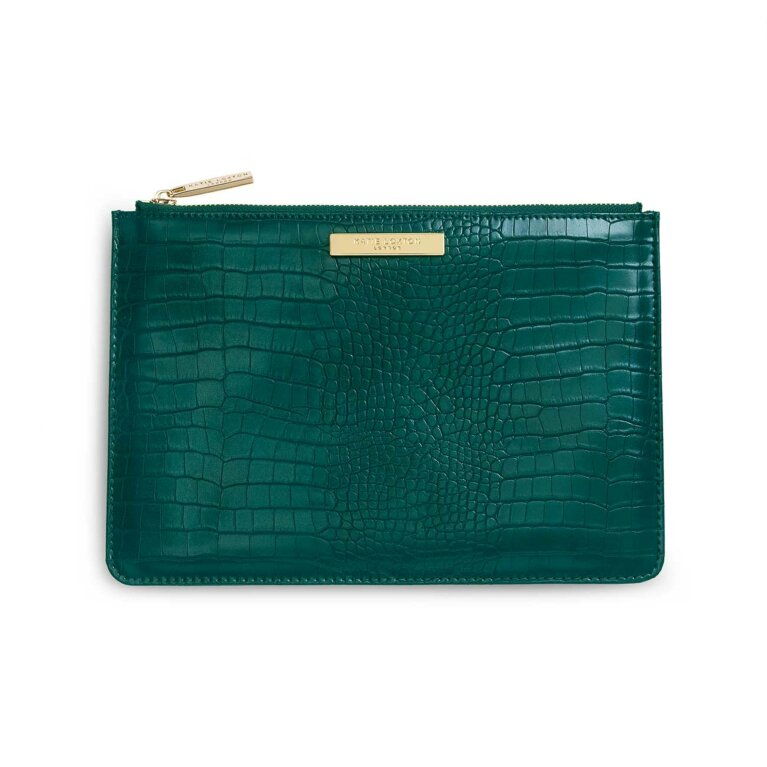 Celine Faux Croc Perfect Pouch | Forest Green