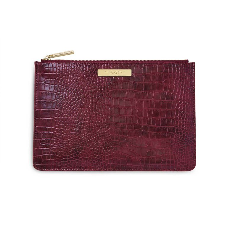 Celine Faux Croc Perfect Pouch | Burgundy