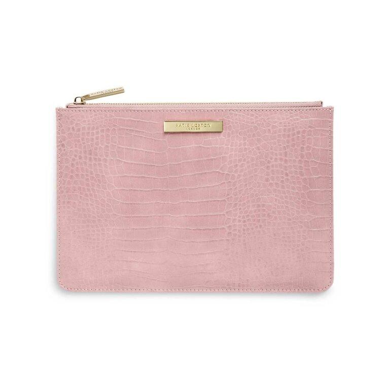 Celine Faux Croc Perfect Pouch | Pink