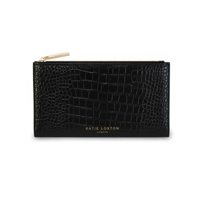 Celine Faux Croc Fold Out Purse | Black