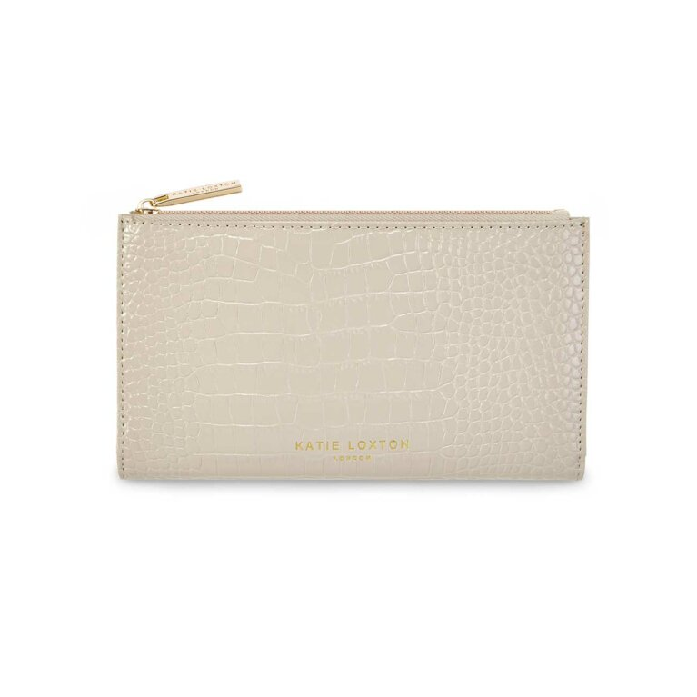 Celine Faux Croc Fold Out Purse | Stone