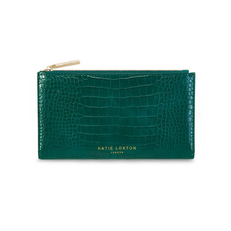 Celine Faux Croc Fold Out Purse | Forest Green