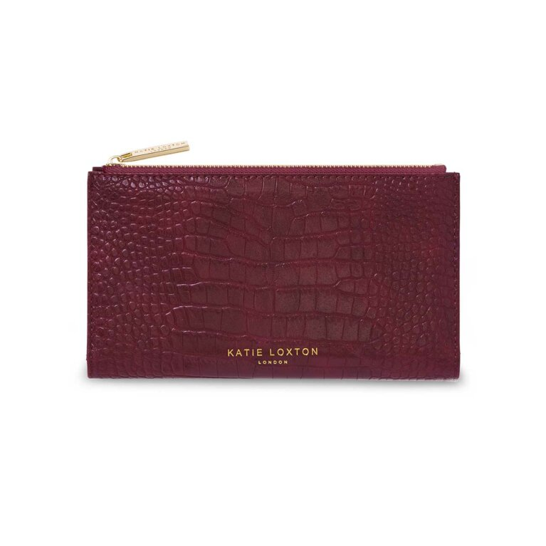 Celine Faux Croc Fold Out Purse | Burgundy