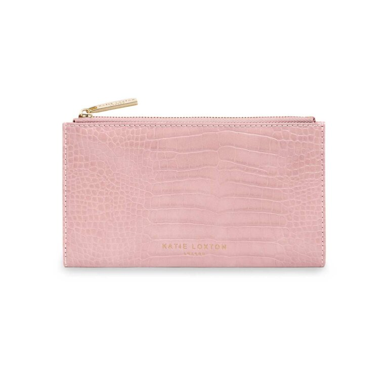Celine Faux Croc Fold Out Purse | Pink