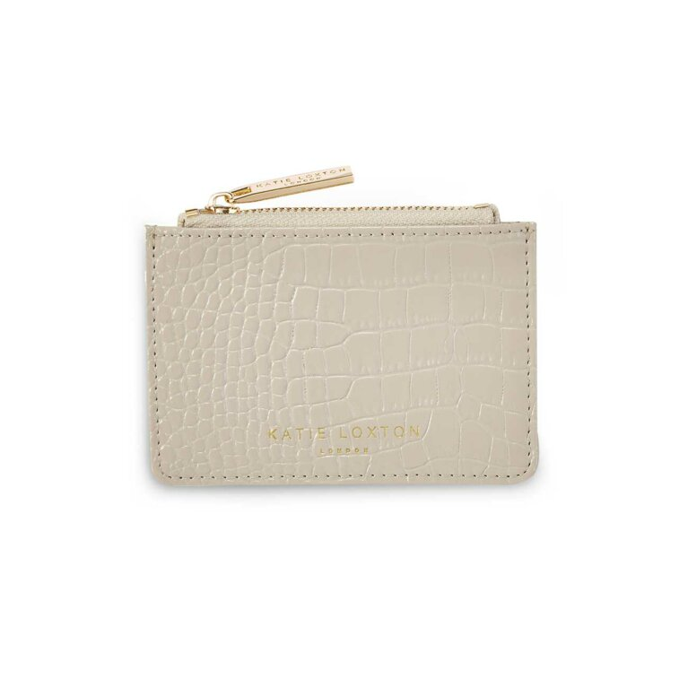 Celine Faux Croc Card Holder | Stone
