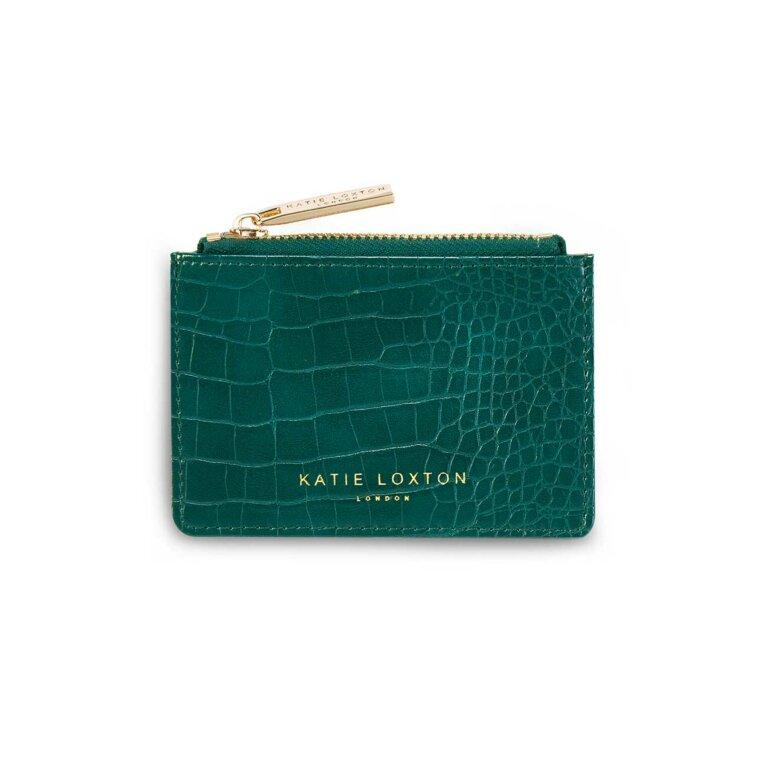 Celine Faux Croc Card Holder | Forest Green