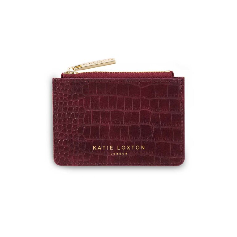 Celine Faux Croc Card Holder | Burgundy