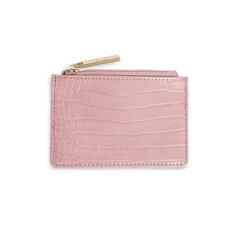 Celine Faux Croc Card Holder | Pink