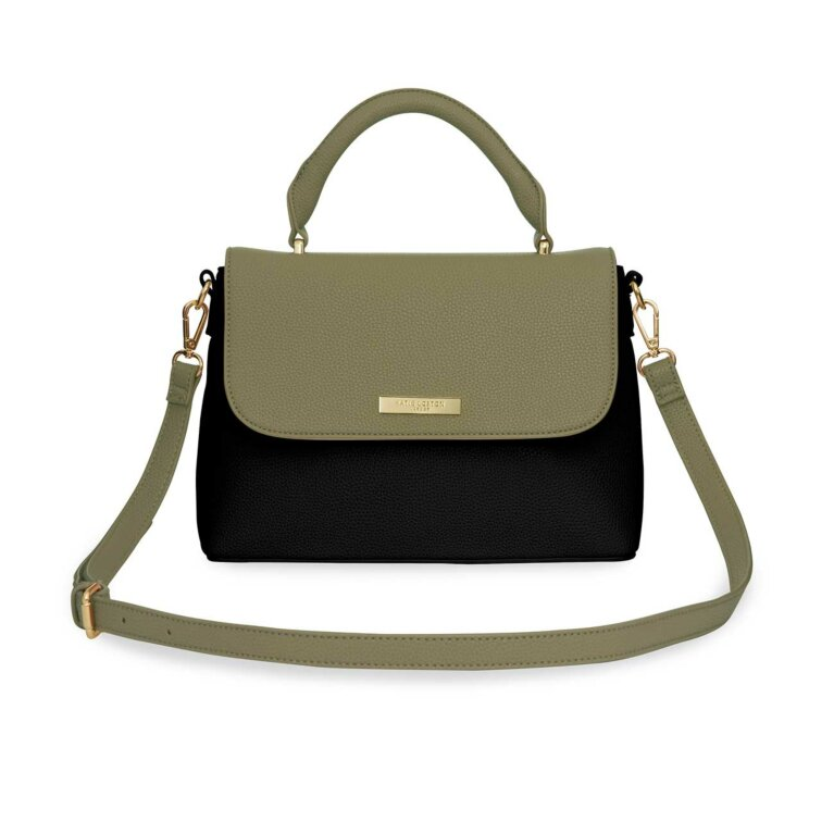 Talia Two Tone Messenger Bag | Black and Khaki