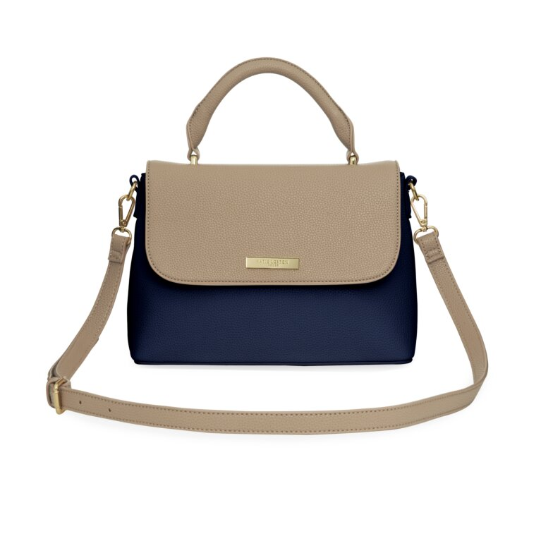 Talia Two Tone Messenger Bag In Navy And Caramel