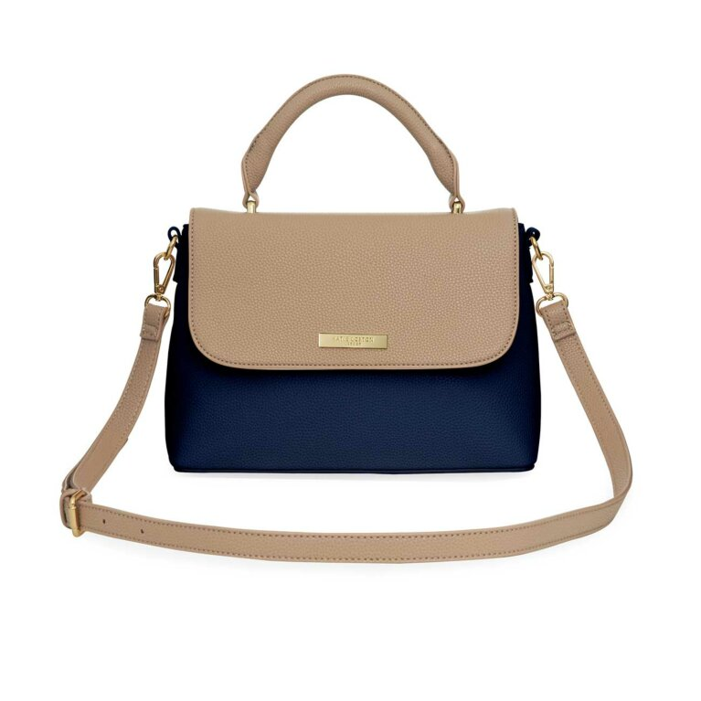 Talia Two Tone Messenger Bag | Navy and Caramel