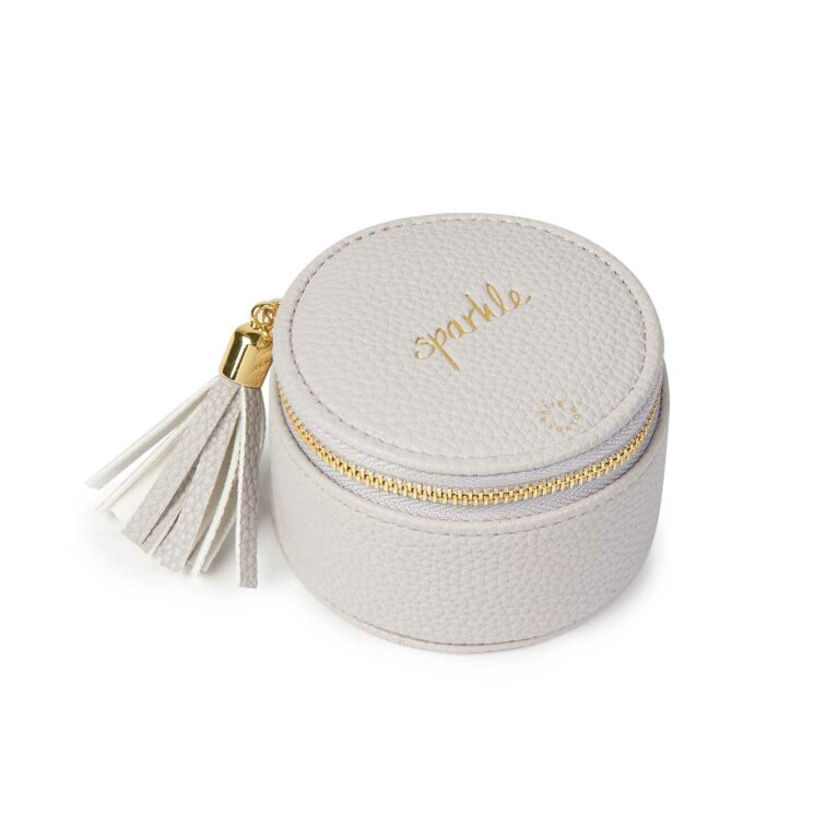 Tassel Small Circle Jewellery Box | Sparkle | Grey