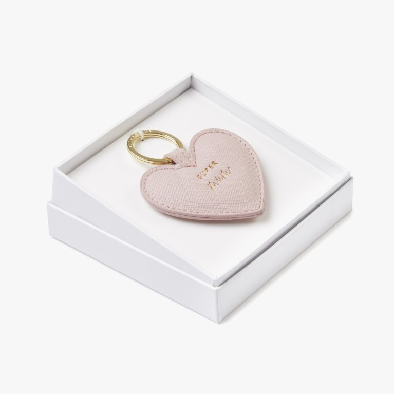 Beautifully Boxed Sentiment Keyring | Super Mum | Nude Pink