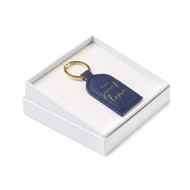 Beautifully Boxed Sentiment Keyring | Home Sweet Home | Navy