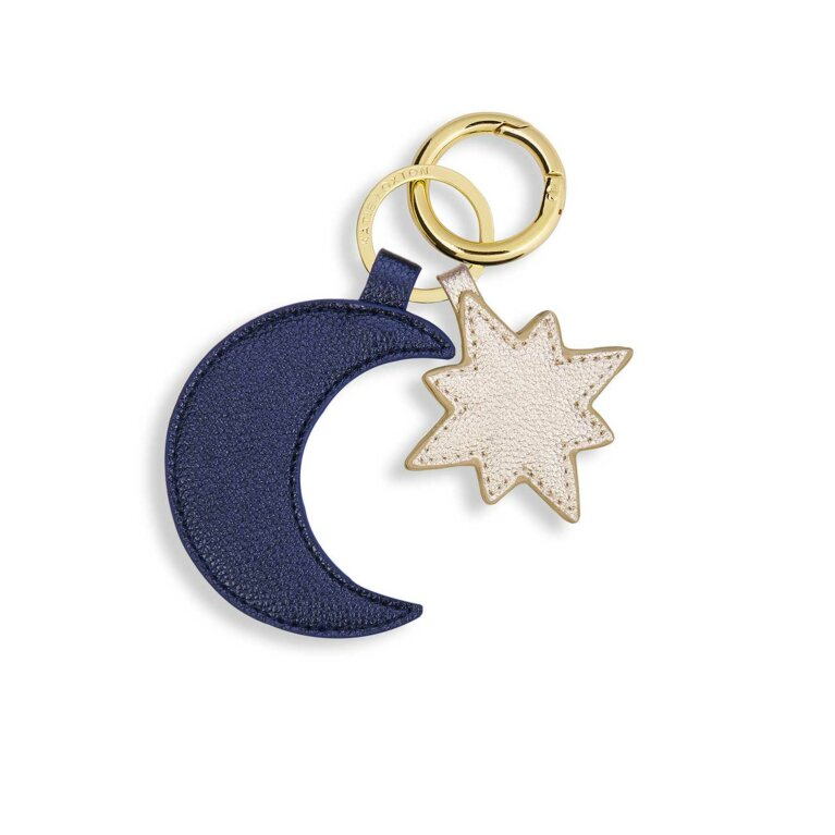 Luxe Keyring | Moon & Star | Metallic Navy and Gold