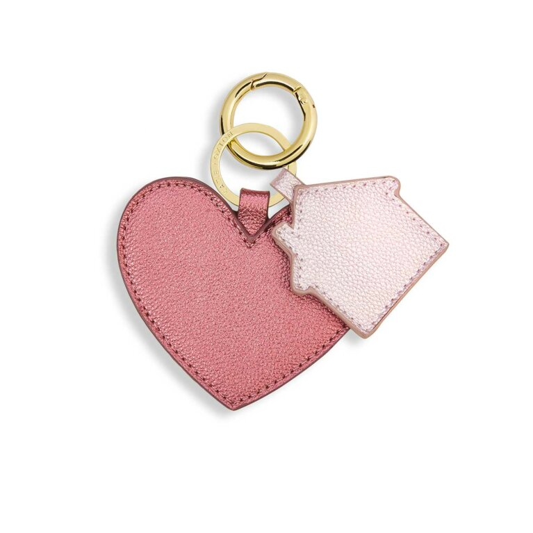 Luxe Keyring | Heart & Home | Metallic Pink