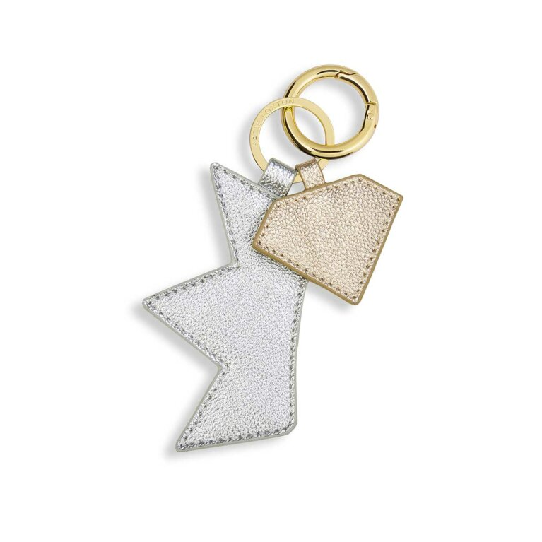 Luxe Keyring | Crown & Diamond | Metallic Silver and Gold