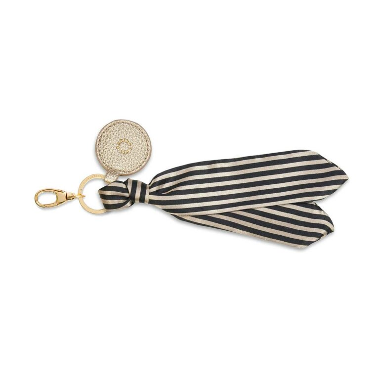 Carrie Scarf Keyring Bag Charm | Black/Neutral