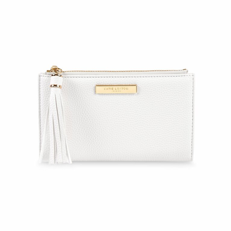 Sophia Tassel Fold Out Purse | White