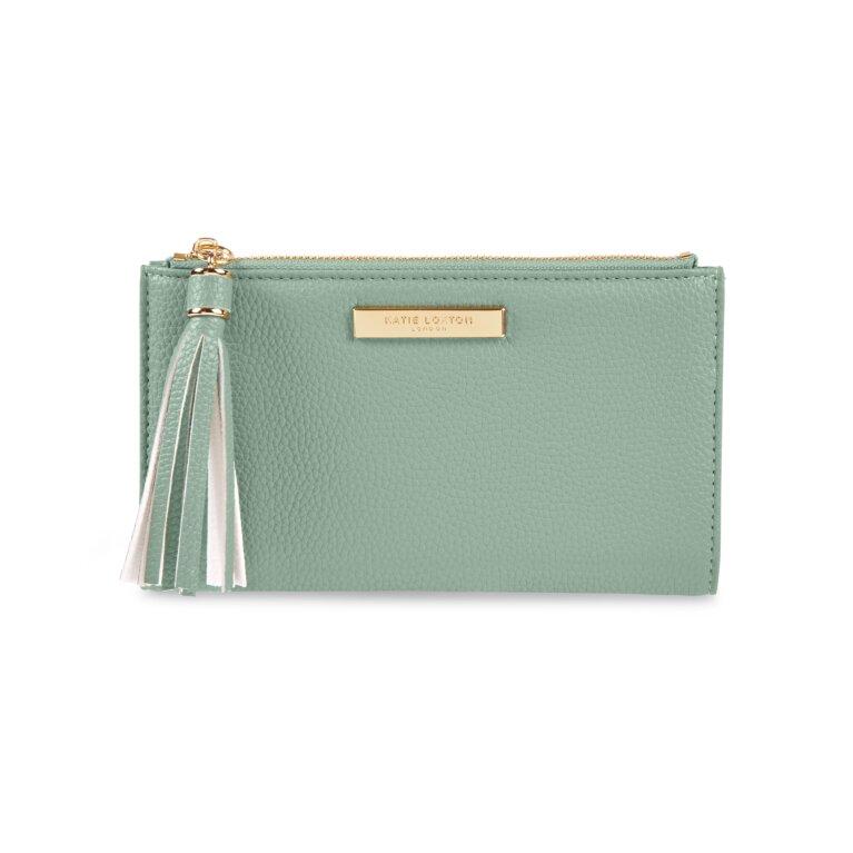 Sophia Tassel Fold Out Purse In Mint Green
