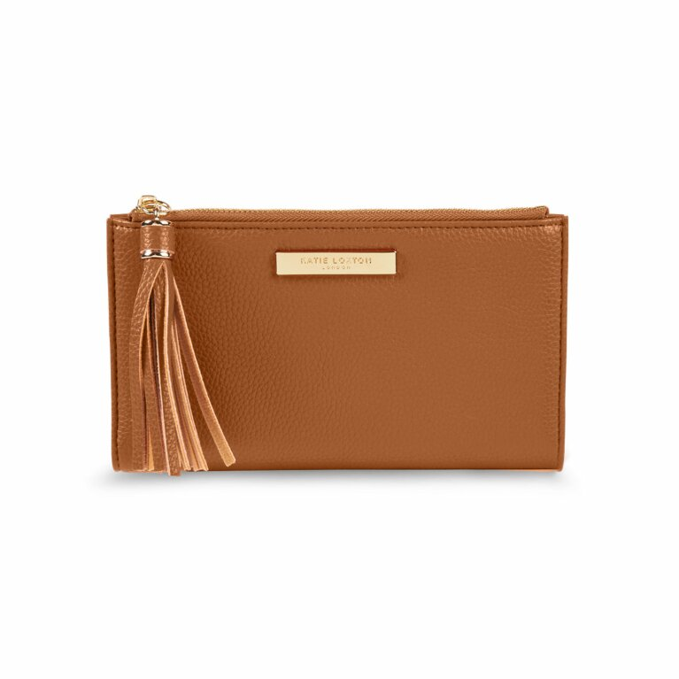 Sophia Tassel Fold Out Purse | Cognac