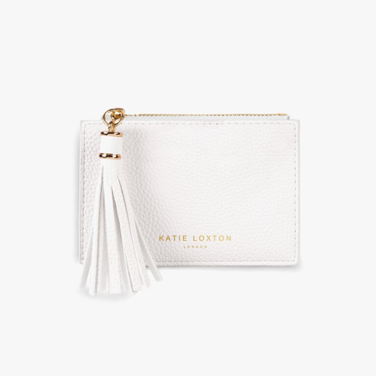 Sophia Tassel Coin/Card Purse | White