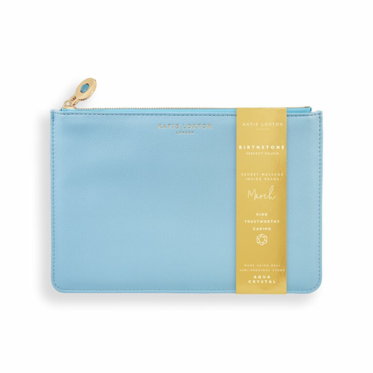 Birthstone Perfect Pouch | March Aqua Crystal | Blue