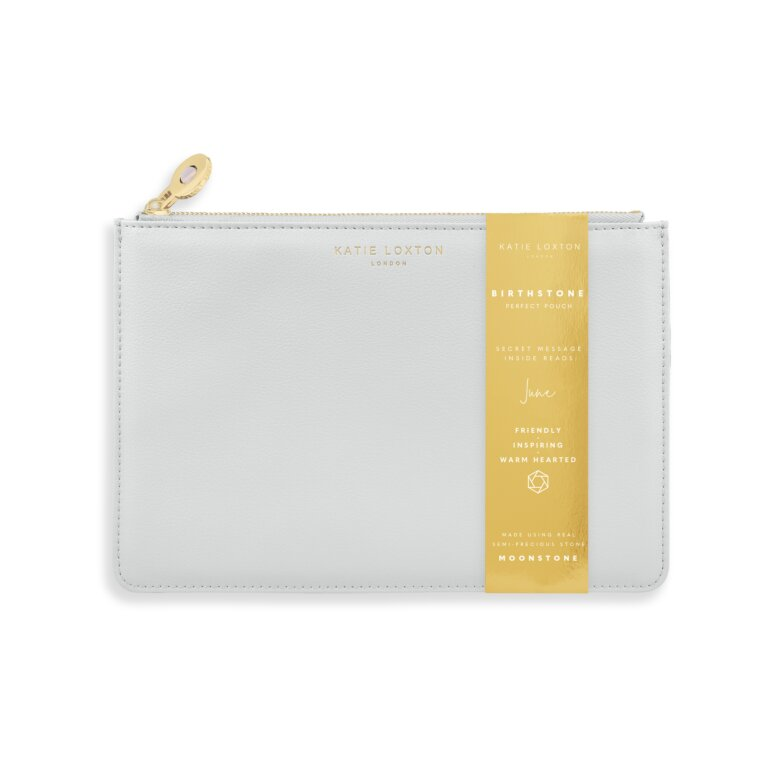 Birthstone Perfect Pouch June Moonstone In Pale Grey
