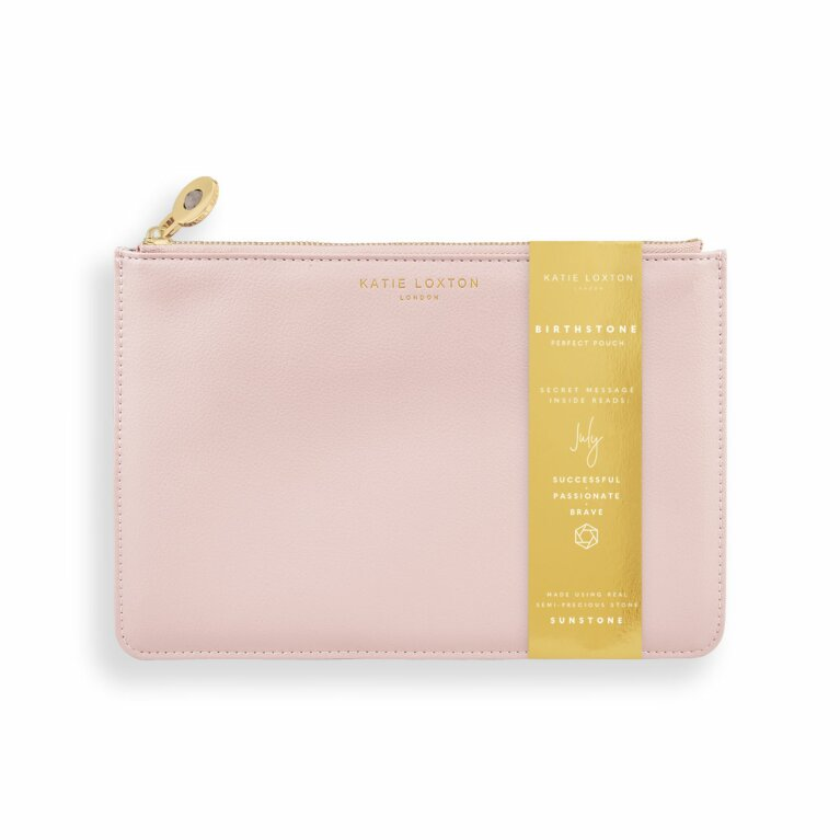 Birthstone Perfect Pouch | July Sunstone | Blush Pink