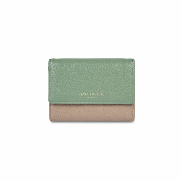 Casey Wallet | Taupe and Mint Green