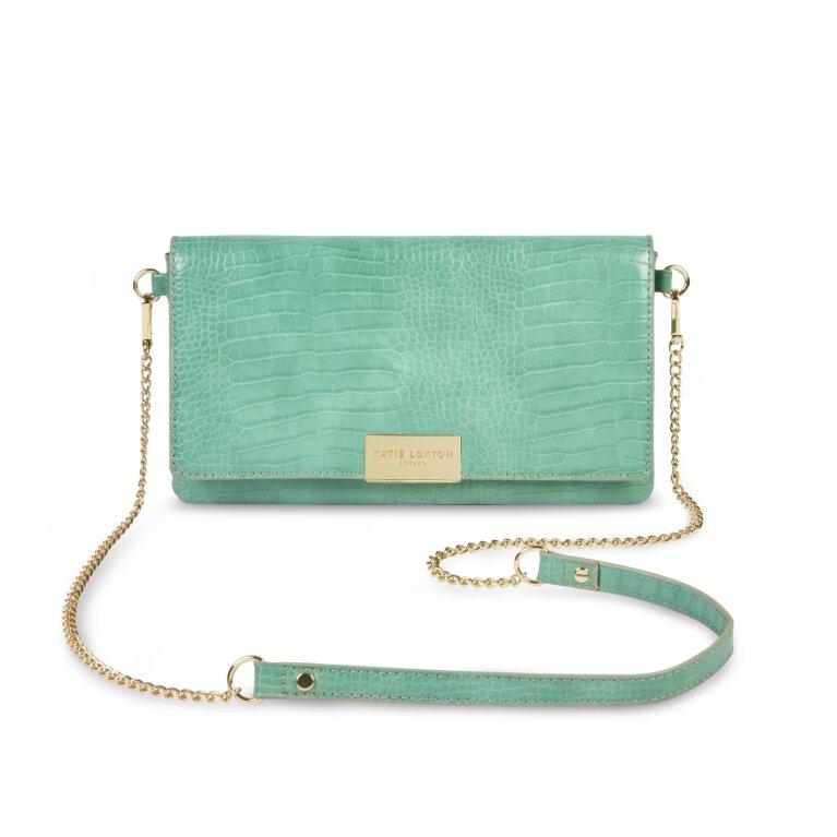 Celine Faux Croc Crossbody Bag In Mint Green