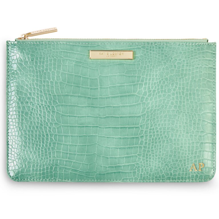 Celine Faux Croc Perfect Pouch | Mint Green