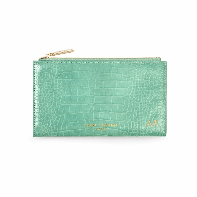 Celine Faux Croc Fold Out Wallet | Mint Green