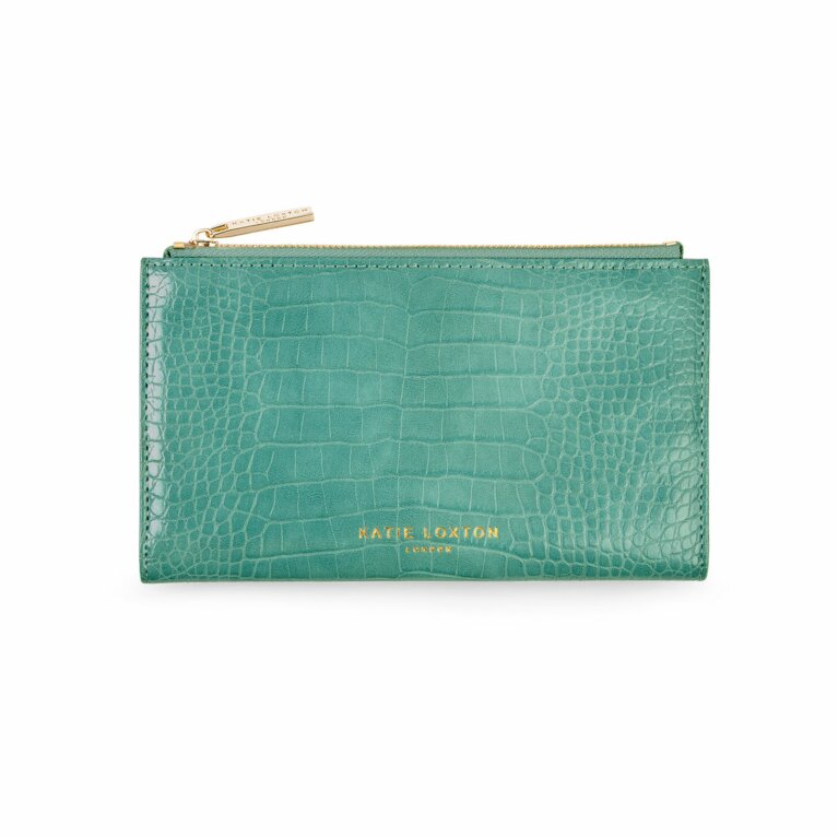 Celine Faux Croc Fold Out Purse | Mint Green