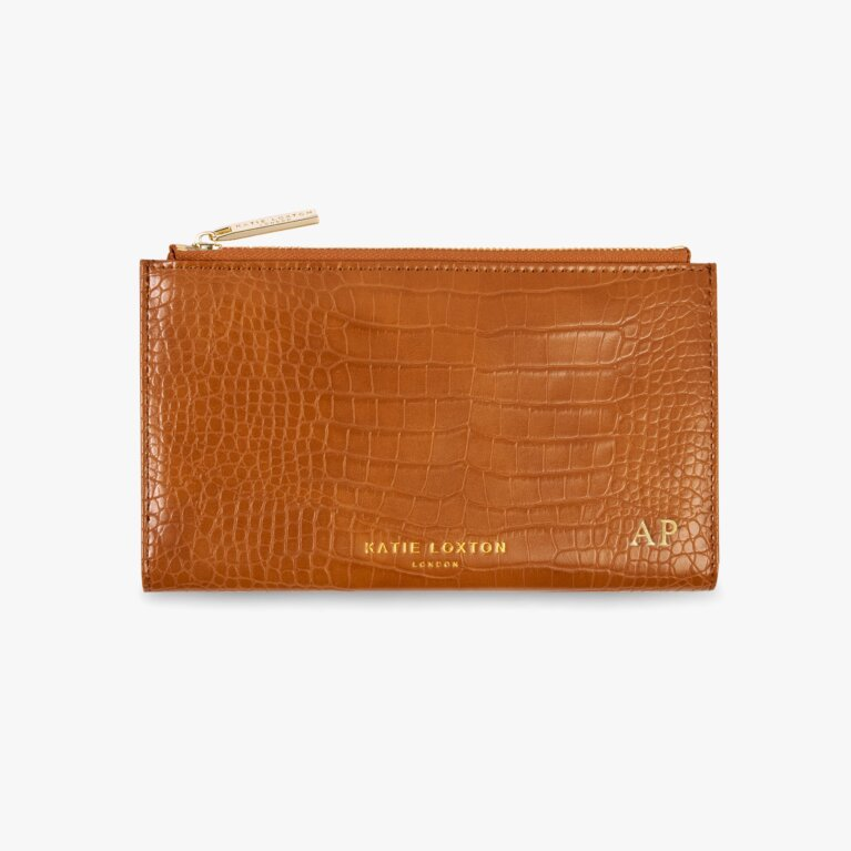 Celine Faux Croc Fold Out Purse | Cognac