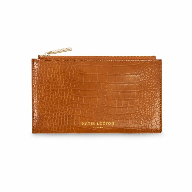 Celine Faux Croc Fold Out Wallet | Cognac