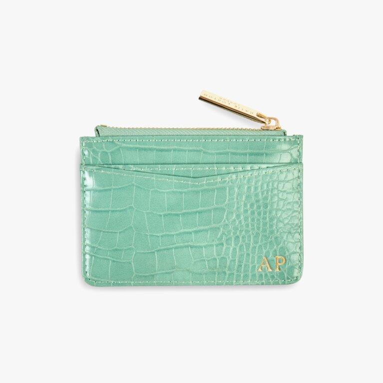 Celine Faux Croc Card Holder In Mint Green